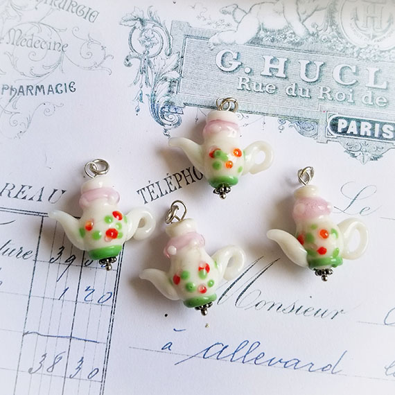 Destash Lampwork Tea Charms Pink/White Sterling Glass