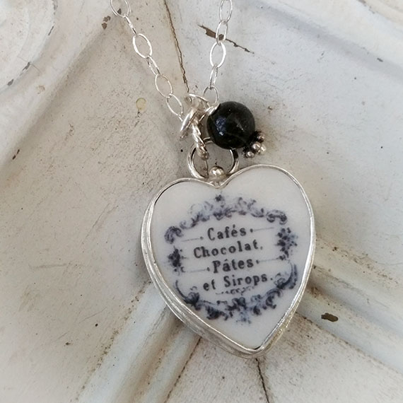French Cafe Chocolat Broken China Jewelry Sterling Necklace (Choice)