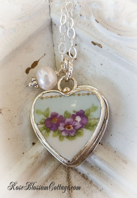 Violets on Shabby Blue Petite Broken China Jewelry Charm Pearl Pendant Necklace