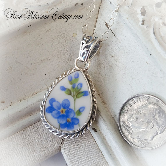 Forget Me Not Teardrop Rope Edge Ornate Bail Sterling Pendant Necklace
