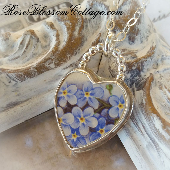 Forget Me Not Heart Broken China Jewelry Charm Necklace Pendant