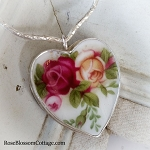 Royal Albert Old Country Roses Broken China Jewelry Sterling V Necklace