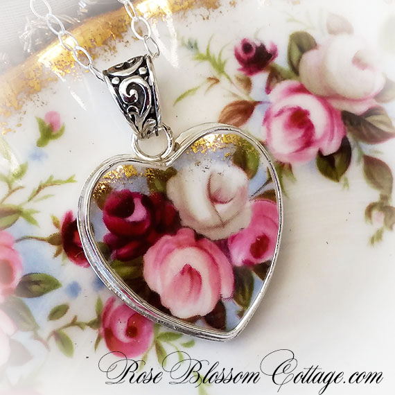 Royal Albert Cottage Garden Broken China Jewelry Heart Pendant Necklace