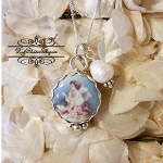 Angel Among Us Porcelain Sterling Pearl Pendant Necklace