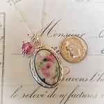 Soft Impressionistic Pink Shabby Roses Sterling Necklace