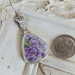 Violets Triangle Broken China Jewelry Sterling Necklace Pendant
