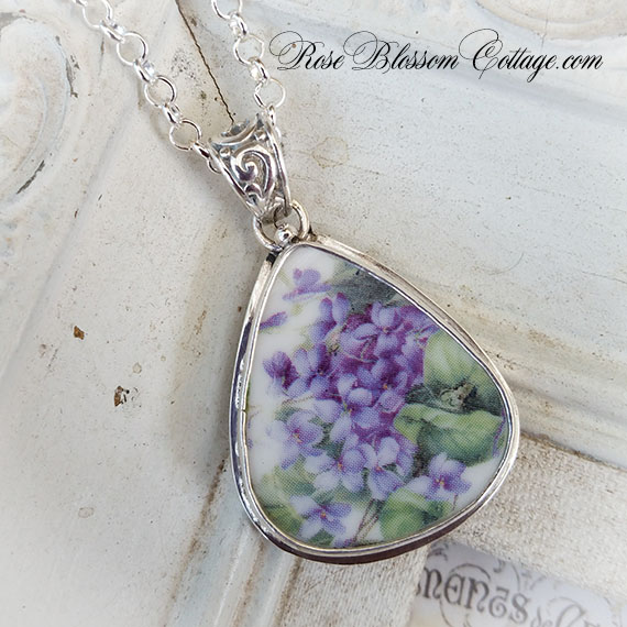 Violets Triangle Broken China Jewelry Sterling Necklace Pendant Deux