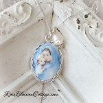 Mother Mary and Child in Soft Blues Porcelain Sterling Oval Pendant Necklace
