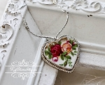 Royal Albert Old Country Roses Broken China Jewelry Sterlling V Necklace
