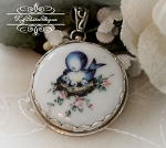 Momma Blue Bird & Chicks Porcelain in Sterling Pendant Necklace