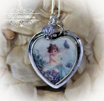Violets Angel  Broken China Jewelry Charm Pendant