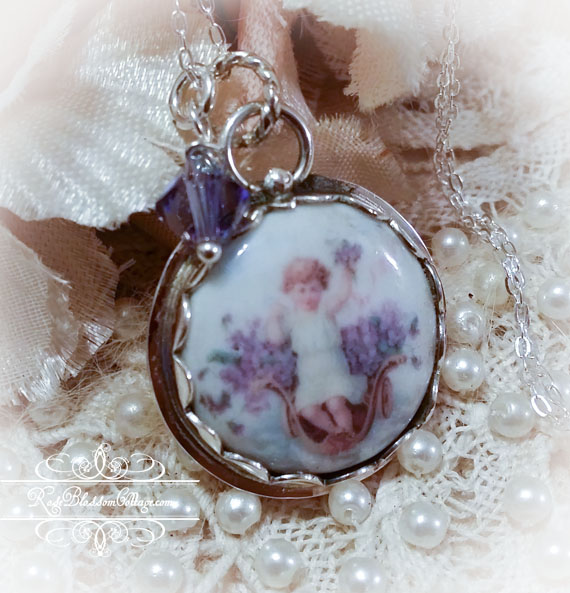 Angel in Violets Porcelain Sterling Necklace Pendant