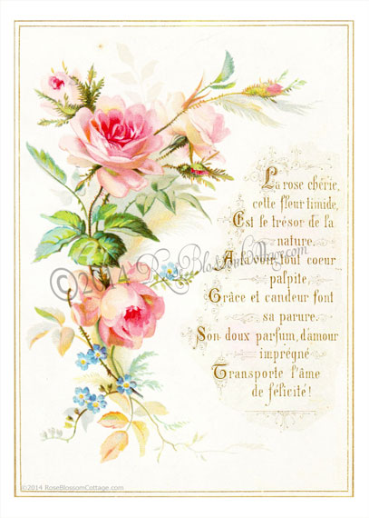 Antique French Pink Roses Poem Print