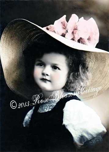 Lorilee Child with Large Hat Antique Print / Download