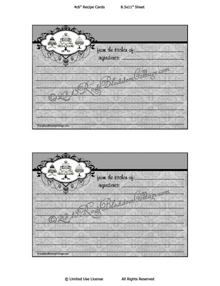 Recipe Cards Black White Damask Cake Stands Download