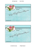 Recipe Card Aqua Blue Pink Roses Download