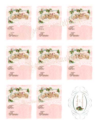 Shabby Pink Winter Children Downloadable Gift Tags