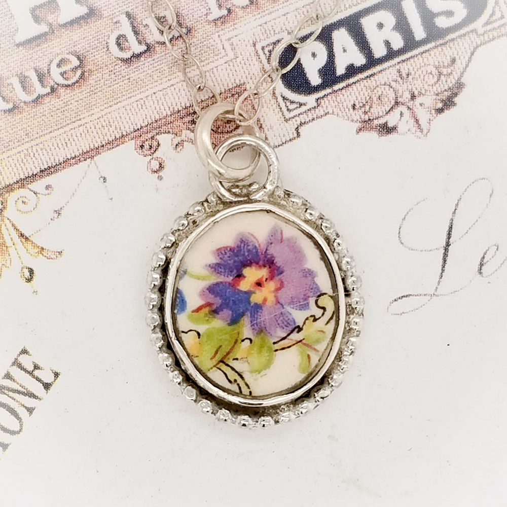 Antique Purple Flower Oval Beaded Broken China Jewelry Charm Pendant Necklace