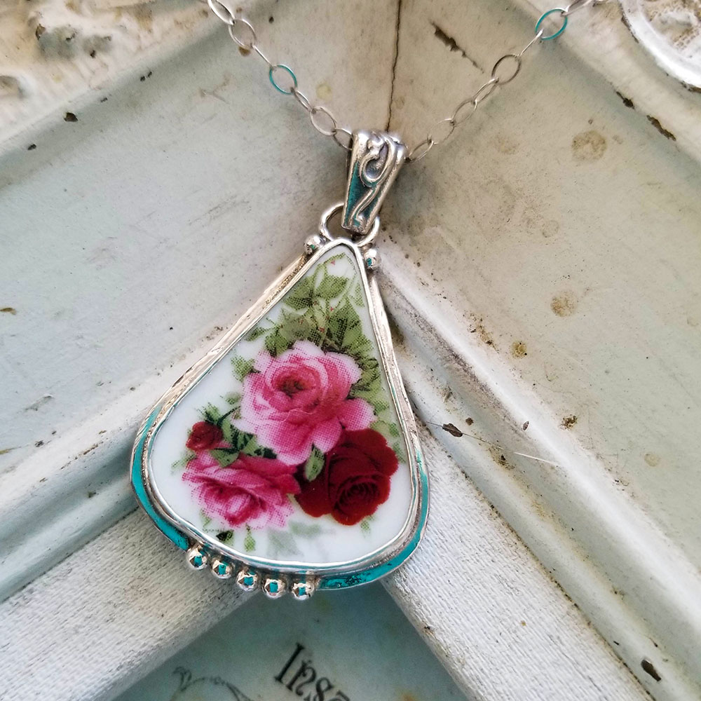 Red Pink Roses Porcelain Sterling Triangle Beaded Broken China Jewelry Necklace