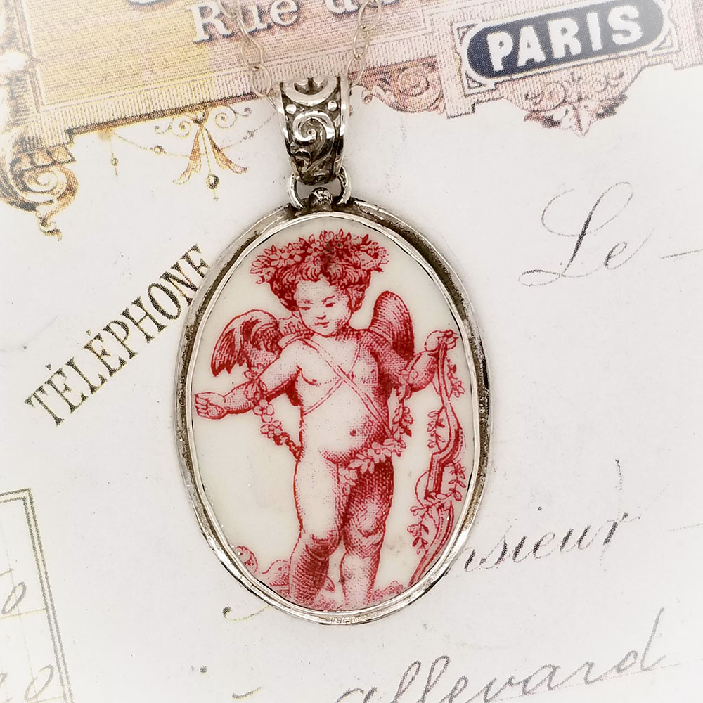 Broken China Jewelry Oval Red Pink Toile Broken China Jewelry Angel Pendant