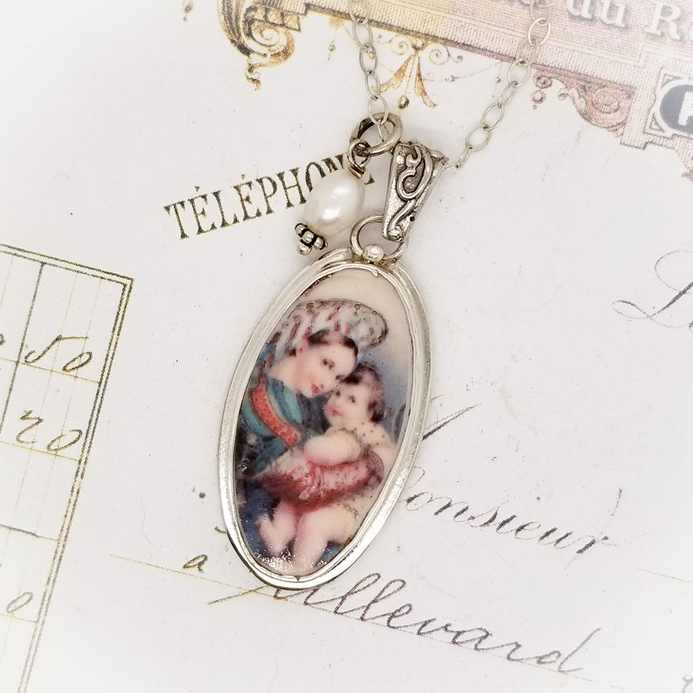 Romanian Long Virgin Mother Mary & Child Porcelain Sterling Broken China Jewelry Pendant Necklace