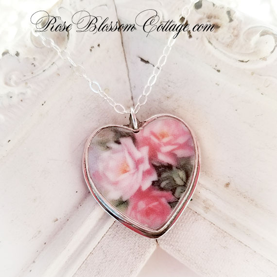 Romantic Roses Broken China Jewelry Sterling Heart Necklace