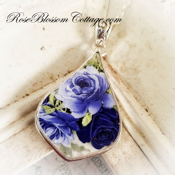 Shades of Blue Roses Fancy Drop Broken China Jewelry Pendant Necklace 2