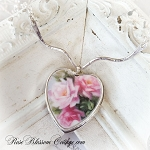 Romantic Roses Broken China Jewelry Sterling Heart V Necklace