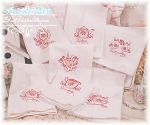 Days of the Week China Embroidery Huck Towels Set of 7  RED