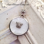 Butterfly Antique Carved Button Pendant Mother of Pearl Necklace