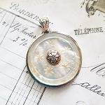 Antique Carved Mother of Pearl Star Large Ornate Button Sterling Pendant Necklace