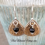 Ornate Boho Sterling Bronze Rounded Triangle  Earrings Choice