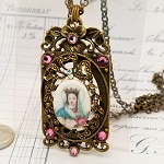Virgin Mary Porcelain Bronze Finish Crystal Rectangle Necklace 30
