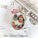 Christmas Small Oval Happy Pink Santa Broken China Jewelry Charm