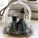 Christmas Glass Globe Cloche Country Church scene Ornament