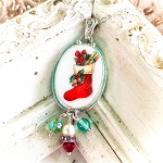 Christmas Stocking Oval Broken China Jewelry Bead Drops Pendant Necklace