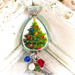 Christmas Tree Broken China Jewelry Teardrop Bead Drop Pendant Necklace