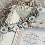 Corrinne Broken China Jewelry Charm Bracelet