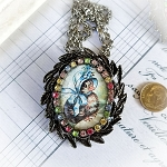 Easter Blue Bonnet Chick Right Porcelain Costume Jewelry Pin Necklace