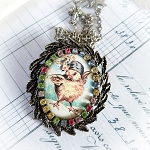 Easter Dancing Chick Porcelain Costume Jewelry Pin Necklace