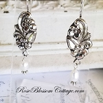 Floral Wave Pearl Drop Sterling Earrings