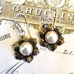 Artisan Flower Pearl Sterling Silver Earrings