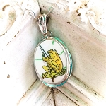 Broken China Jewelry Beatrix Potter J. Fisher Frog II Oval Sterling Pendant