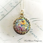 Lavender Pink Vintage Czech Glass Button Charm Pendant Necklace