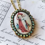 Little Girl Santa Mask Cameo Crystals Costume Jewelry Pin/Pendant Necklace