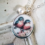New Bluebird Couple Broken China Jewelry Oval Pendant Necklace