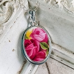 Broken China Jewelry Old Country Roses Pink Red Rose Oval Necklace