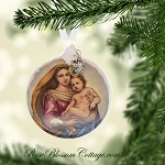 Mother Mary and Jesus Christmas Porcelain Ornament Xmas Charms