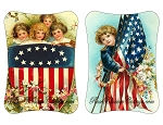 Patriotic 4th of July, Memorial Day, Veteran's Day Intage Images Hand Paddle Fan