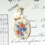 Pink Roses, Blue & White Chrysanthemums Broken China Jewelry Oval Beaded Edge Pendant Necklace